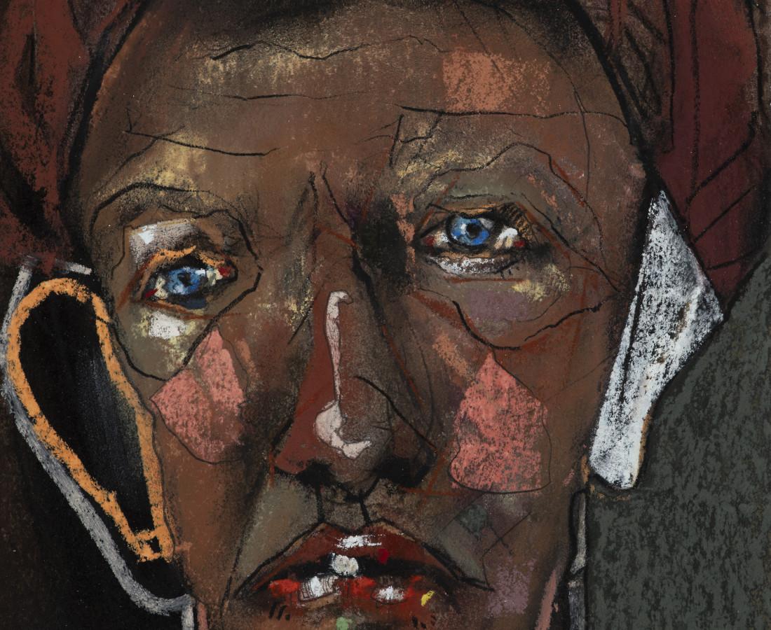 Kris Hargis, Self in striped cap, 2020