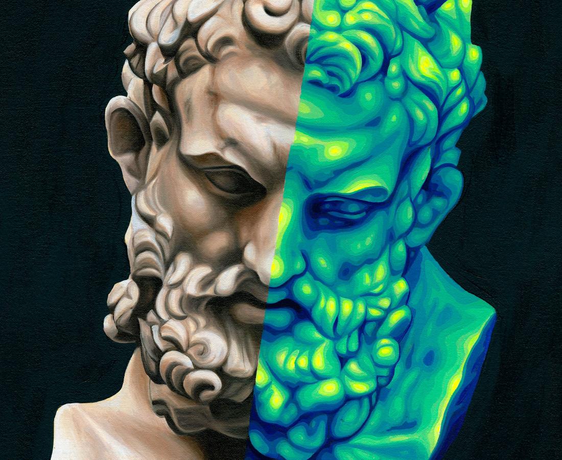 Jake Scharbach, Marble Head of Herakles, Imperial, Roman, 1st Century A.D. - Metropolitan Museum of Art, 2018