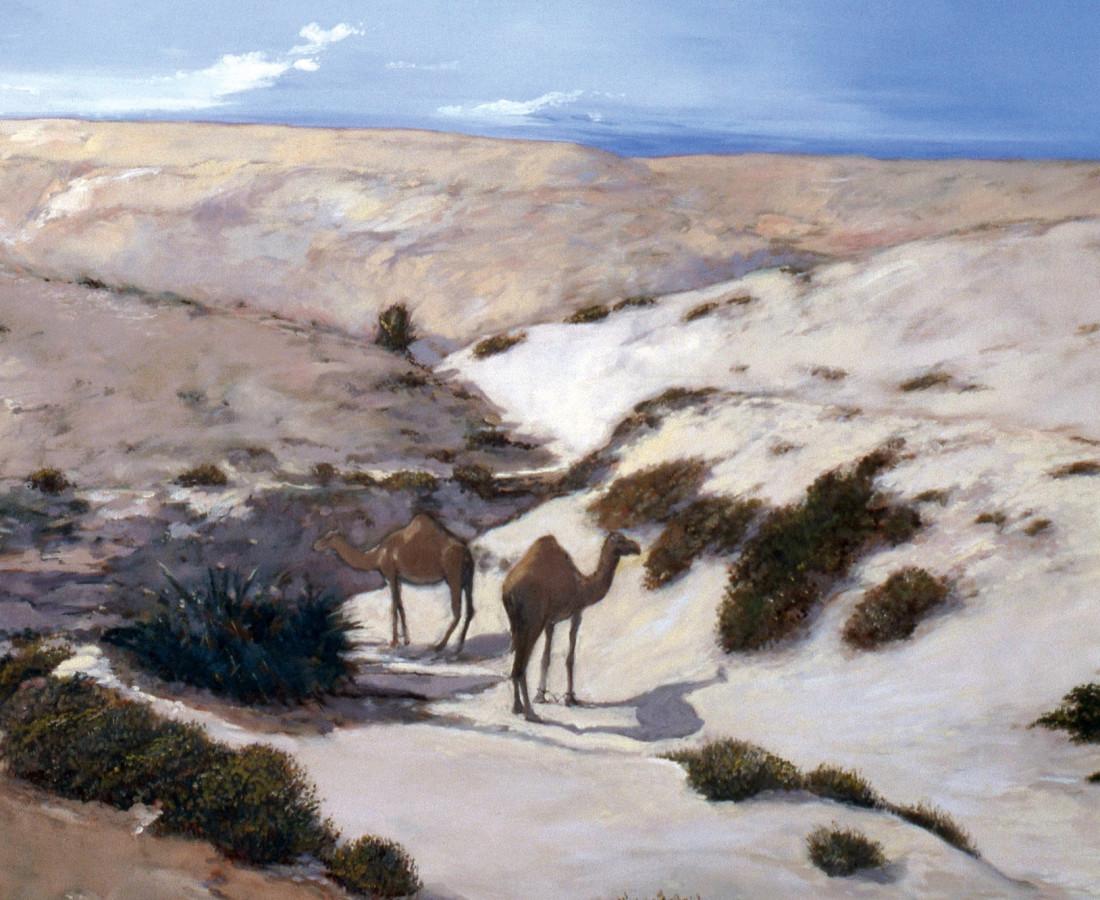 <span class=&#34;artist&#34;><strong>Rashid Al Khalifa</strong></span>, <span class=&#34;title&#34;><em>Camels at Rumaitha Wadi</em>, 1983</span>