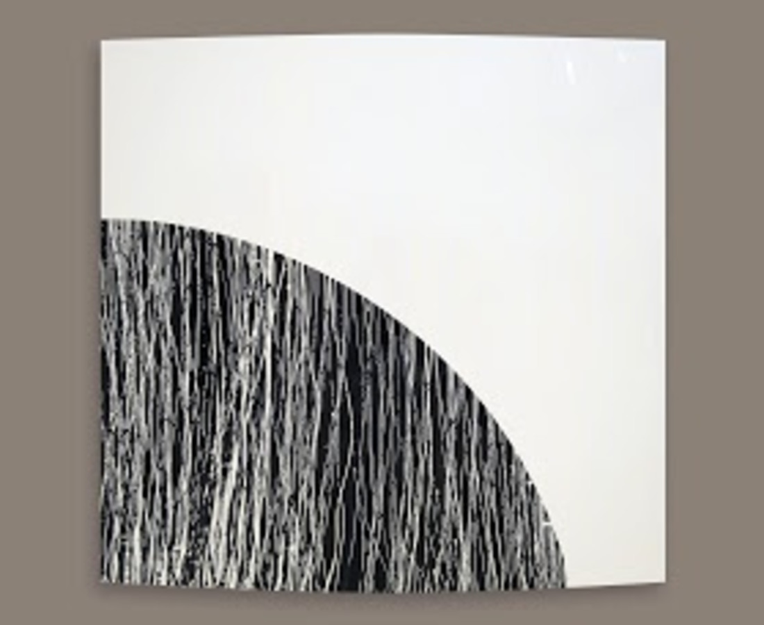 Rashid Al Khalifa, Black with White Lines, 2013
