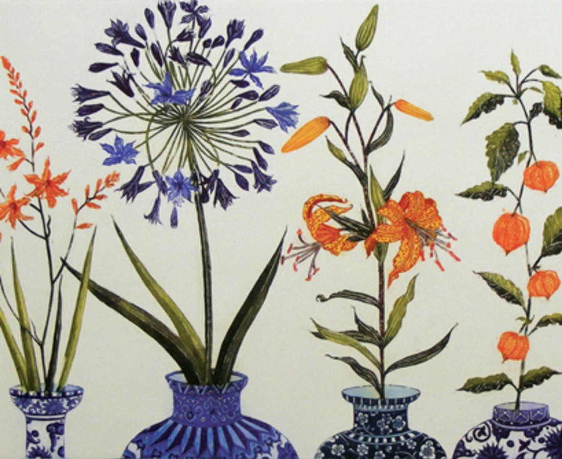 Jean Bardon, Montbretia, Agapanthus, Tiger Lily and Chinese Lanterns