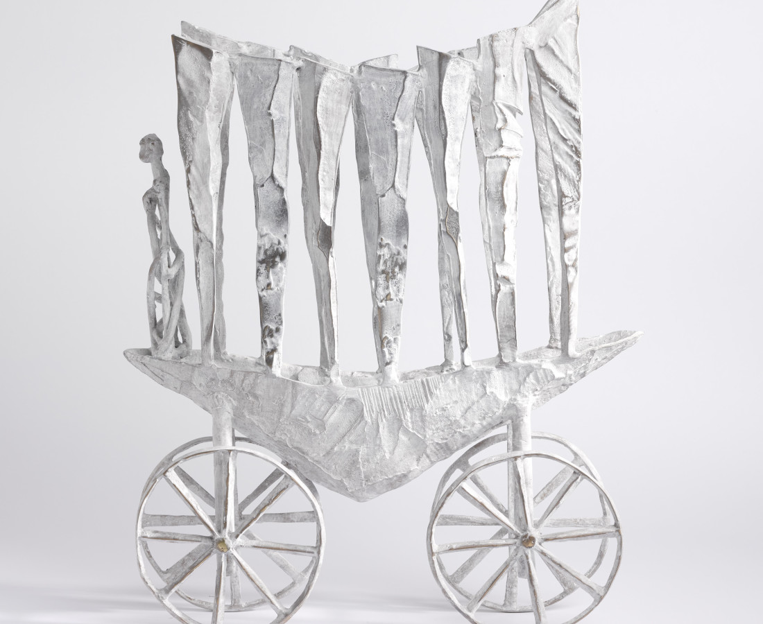 <span class=&#34;artist&#34;><strong>John Behan RHA</strong></span>, <span class=&#34;title&#34;><em>Ancestral Wheeled Oarboat</em></span>