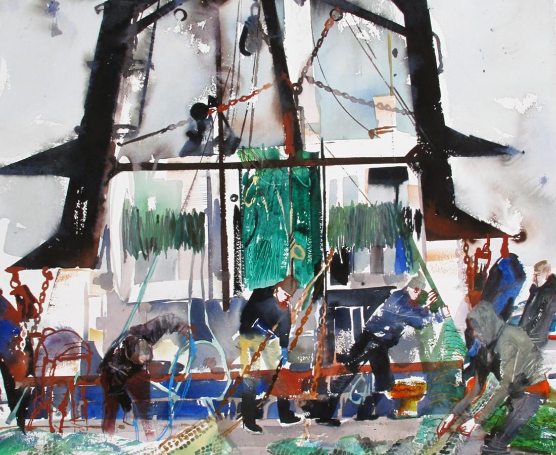 John Short, Loading trawl nets, Howth, County Dublin