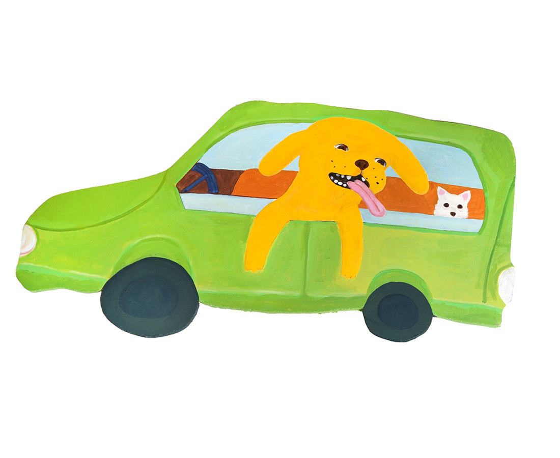 <span class=&#34;artist&#34;><strong>Katie Kimmel</strong></span>, <span class=&#34;title&#34;><em>Dogs in a Nissan Cube</em>, 2019</span>