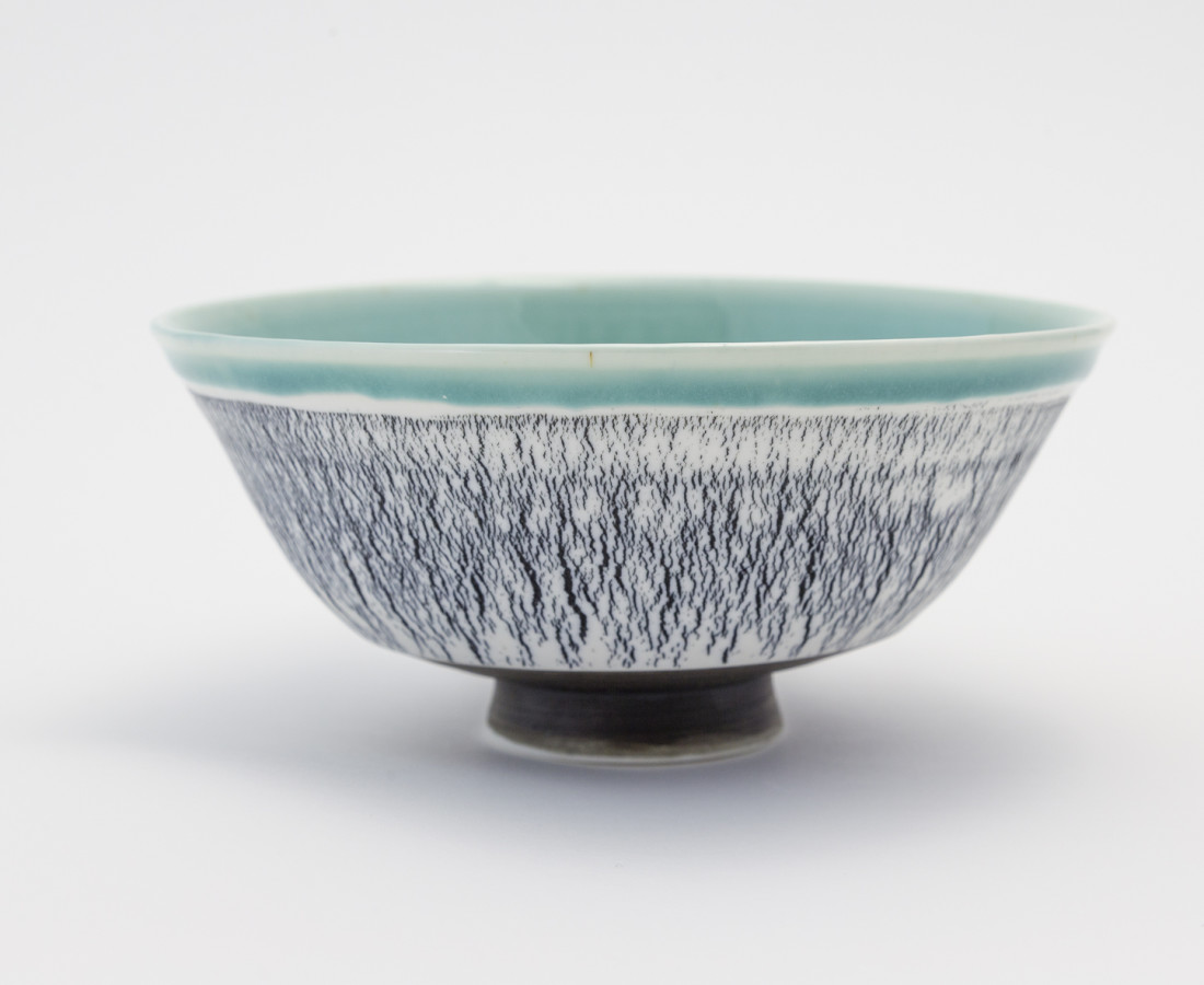 Hugh West, Black and White Crackled Turquoise Bowl