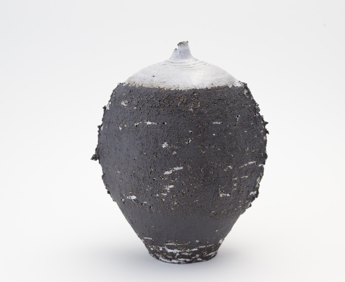 Hugh West, Black Oval White Glazed Bottle Vase