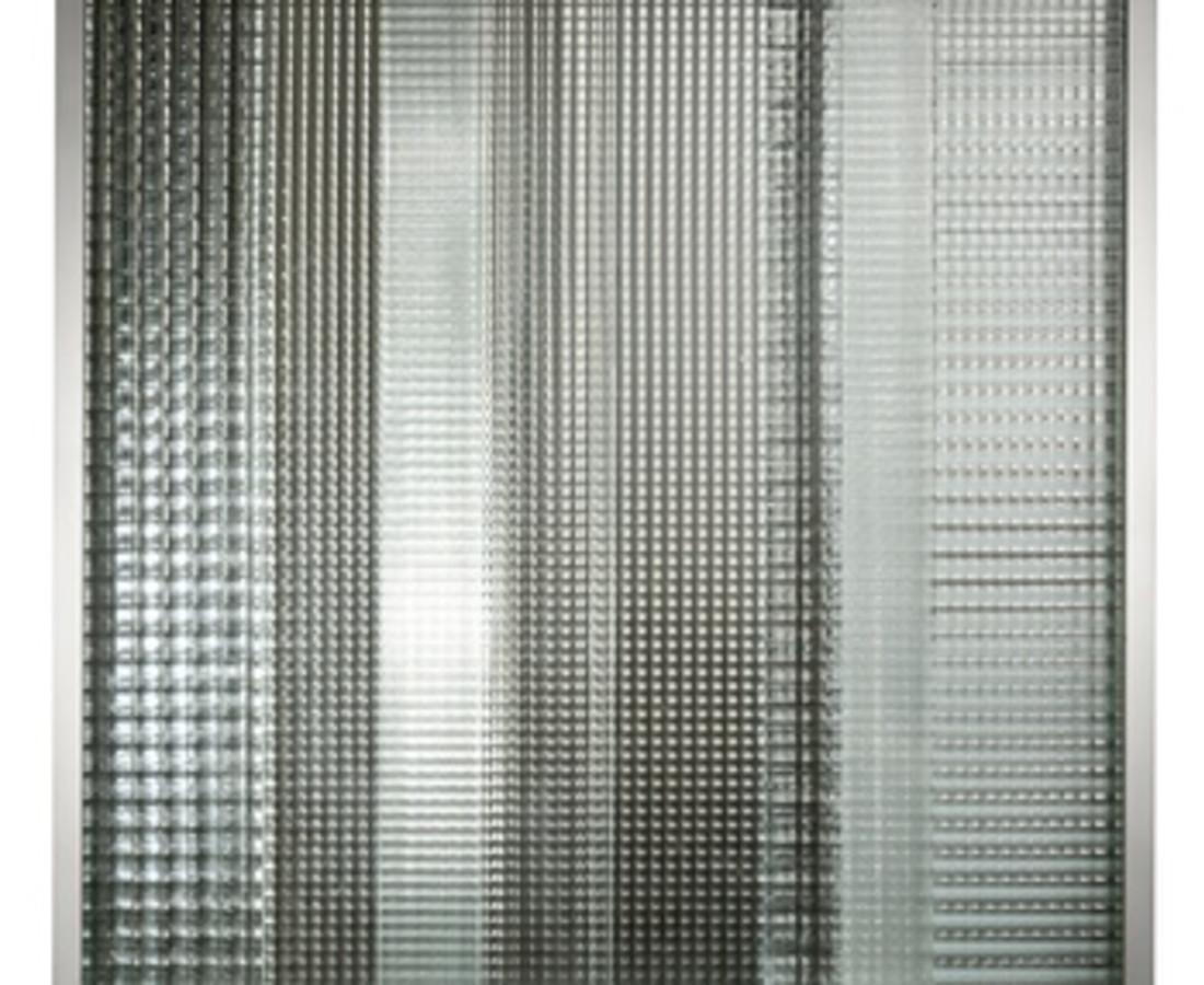 Nanda Vigo: Cronotopo, 1963, 100 x 100 x 5 cm - 39 5/16 x 39 5/16 x 1 15/16 ins, telaio in alluminio, vetro soffiato e specchio
