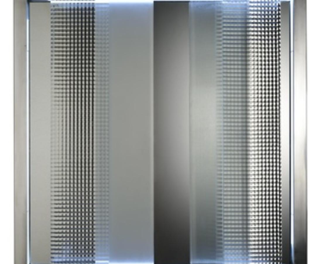Nanda Vigo: Cronotopo, 1967, 100 x 100 x 10 cm - 39 5/16 x 39 5/16 x 1 15/16 ins, telaio in alluminio, vetro soffiato, specchio e tubo di neon