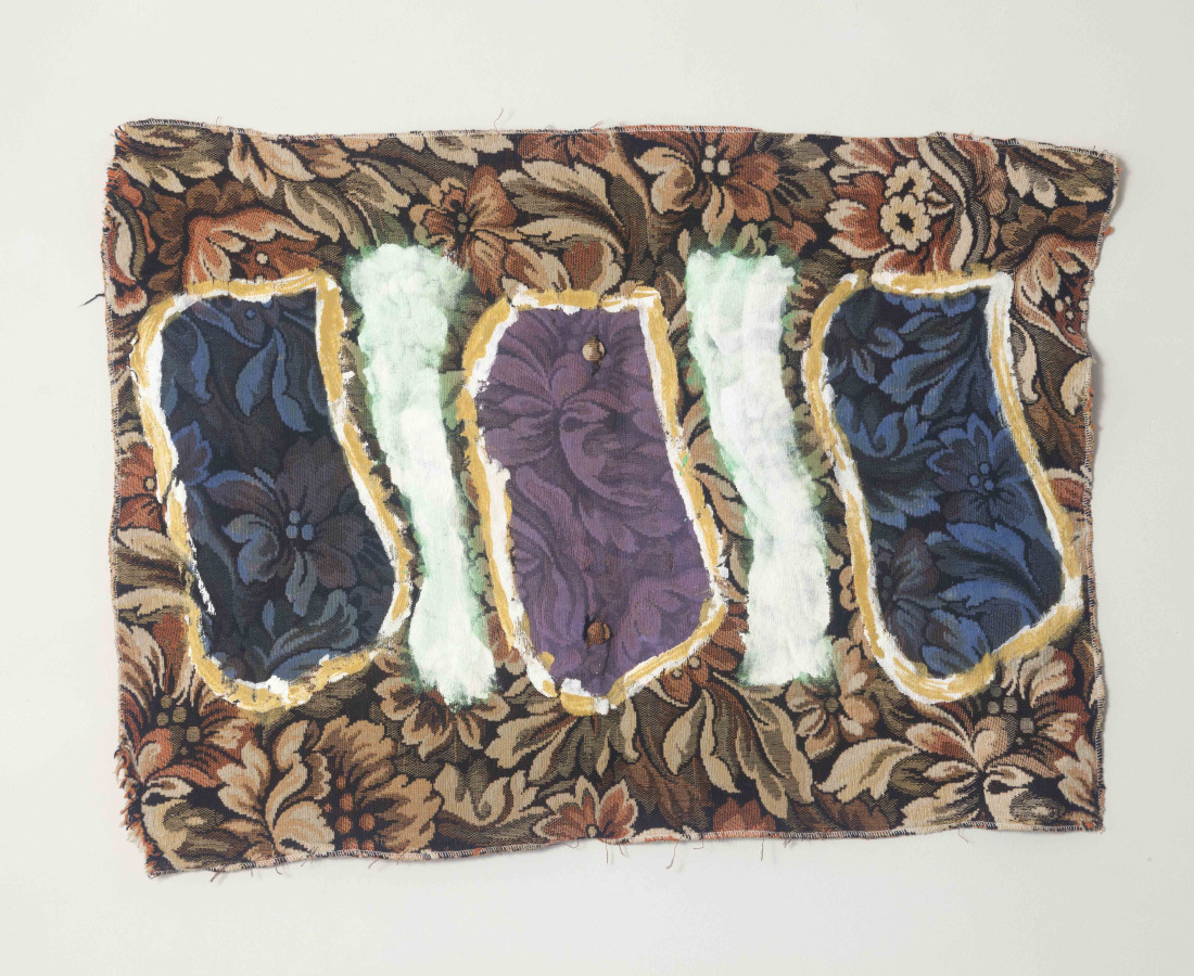 Erbern - Pinelli - Viallat: Claude Viallat, 001, 2001, 61 x 89 cm - 24 1/8 x 35 1/8 in, acrilico su tessuto