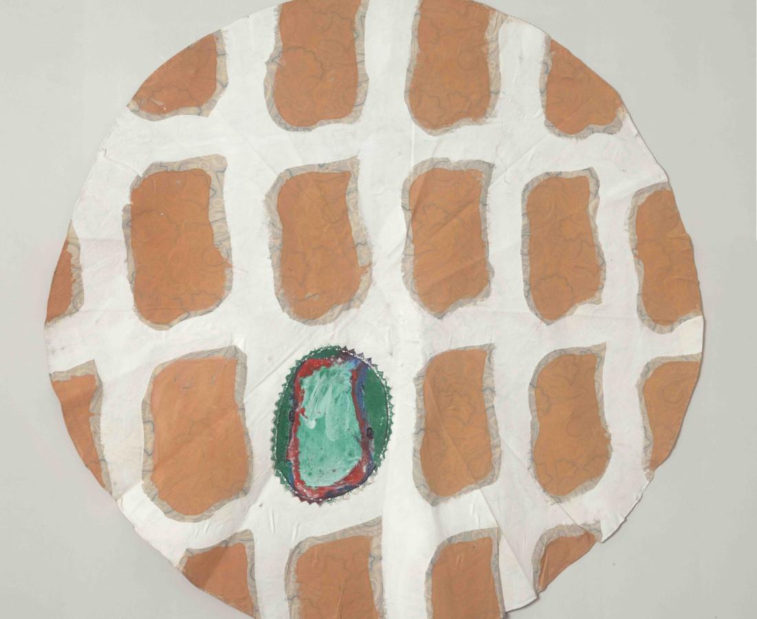 Erbern - Pinelli - Viallat: Claude Viallat, 003, 1990, altezzza 170 cm - 66 7/8, acrilico su tessuto