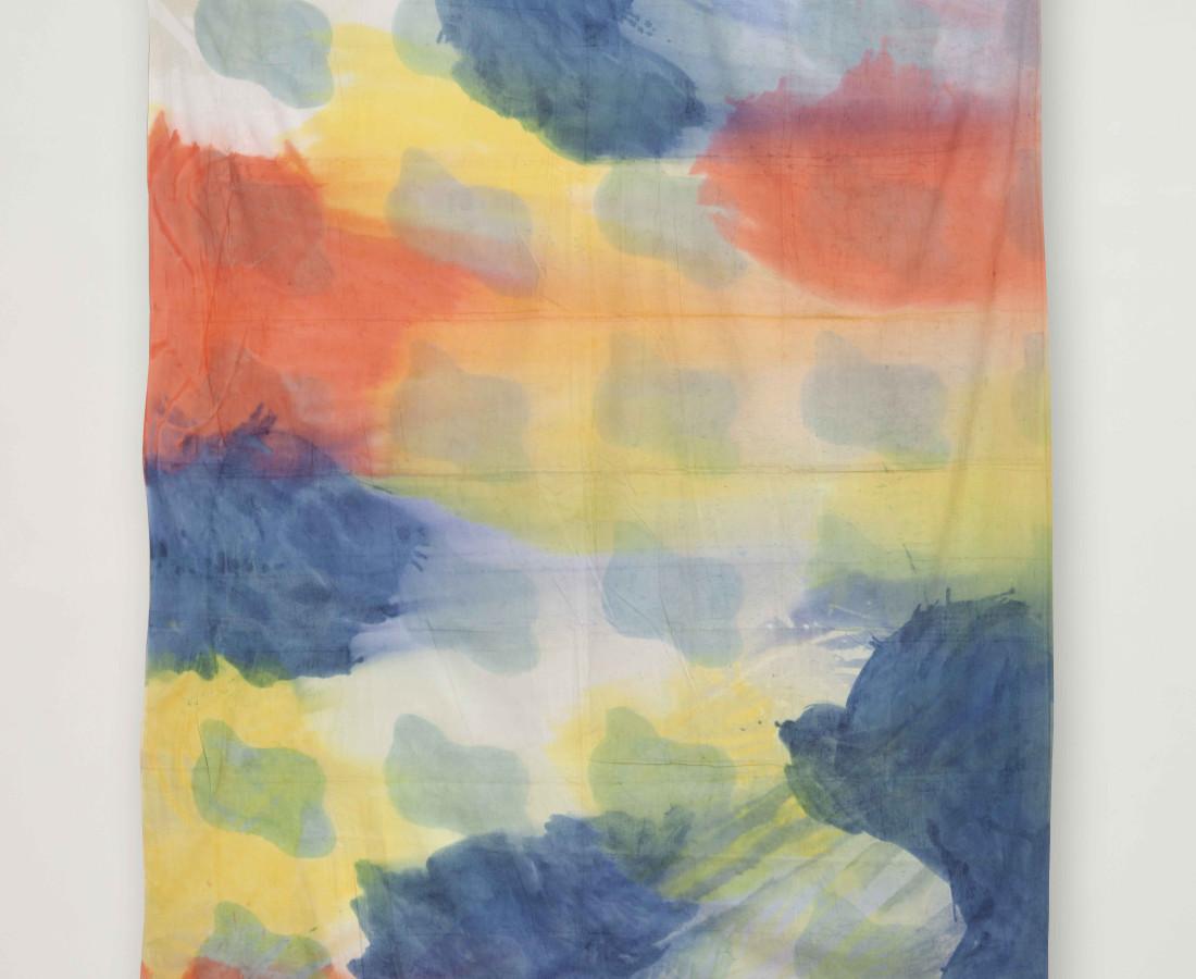 Erbern - Pinelli - Viallat: Claude Viallat, 023, 1975, 230 x 210 cm - 90 1/2 x 82 5/8 in, acrilico su tessuto