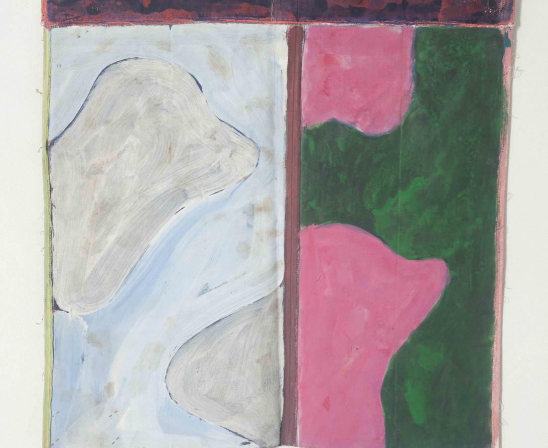 Erbern - Pinelli - Viallat: Claude Viallat, Untilted 052, 1979, 56 x 55 cm - 22 1/8 x 21 5/8 in, acrilico su tessuto