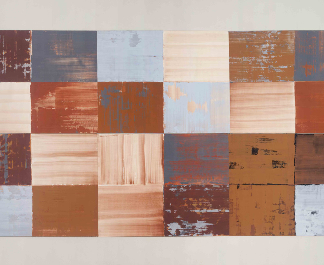 Erbern - Pinelli - Viallat: Ulrich Erbern, Le mura, 1998, 270 x 140 cm - 106 1/3 x 55 in, acrilic on paper