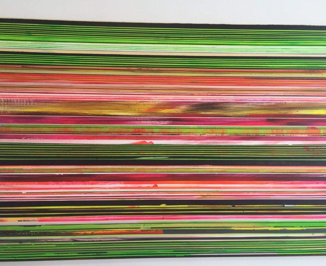 Paolo Bini: Black Green, 2015, 100 x 150 cm, acrilico su nastro carta su tela