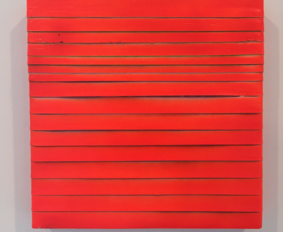 Paolo Bini: Orange, 2015, 30 x 30 cm, acrilico su nastro carta su tela