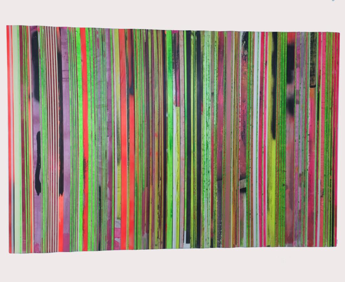 Paolo Bini: Untiled, 2015, 100 x 150 cm, acrilico su nastro carta su tela
