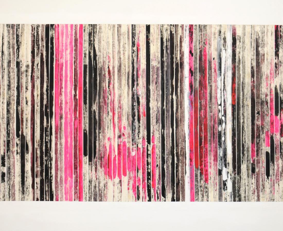 Paolo Bini: Grande Rosso, 2013, 180 x 380 cm, acrilico su nastro carta,