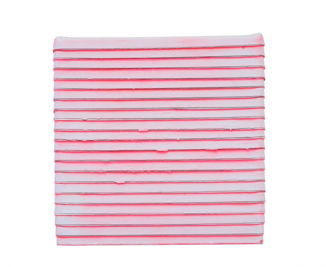 Paolo Bini: Monochrome,2015, 24 x 24 cm, acrilico su nastro carta su tela