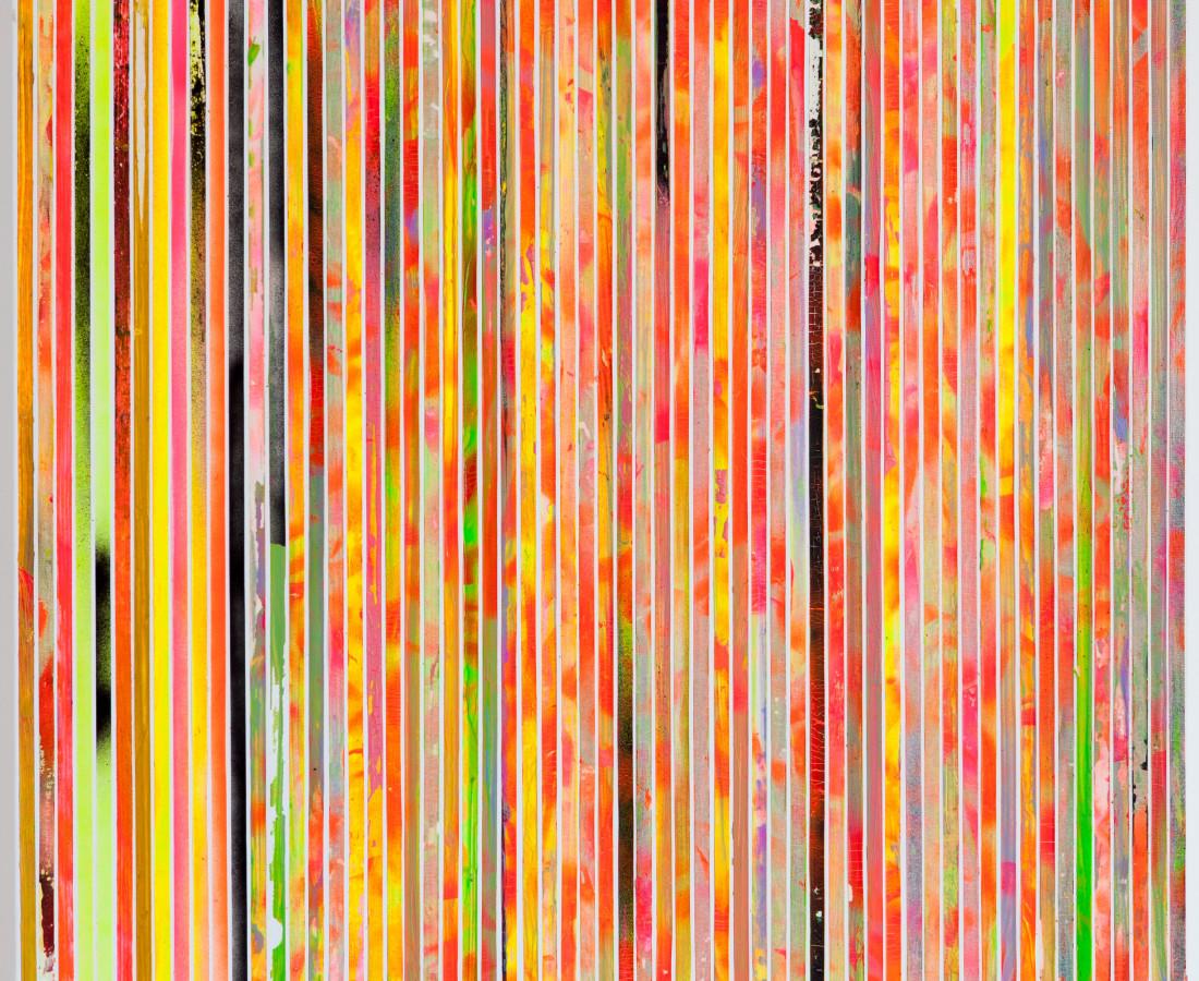 Paolo Bini: Untiled, 2015, 70 x 70 cm, acrilico su nastro carta su tela