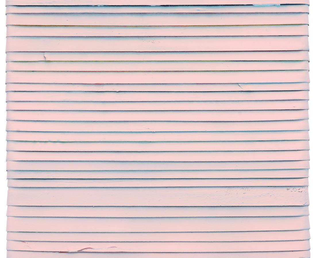 Paolo Bini: Pink, 2015, 30 x 30 cm , acrilico su nastro carta su tela
