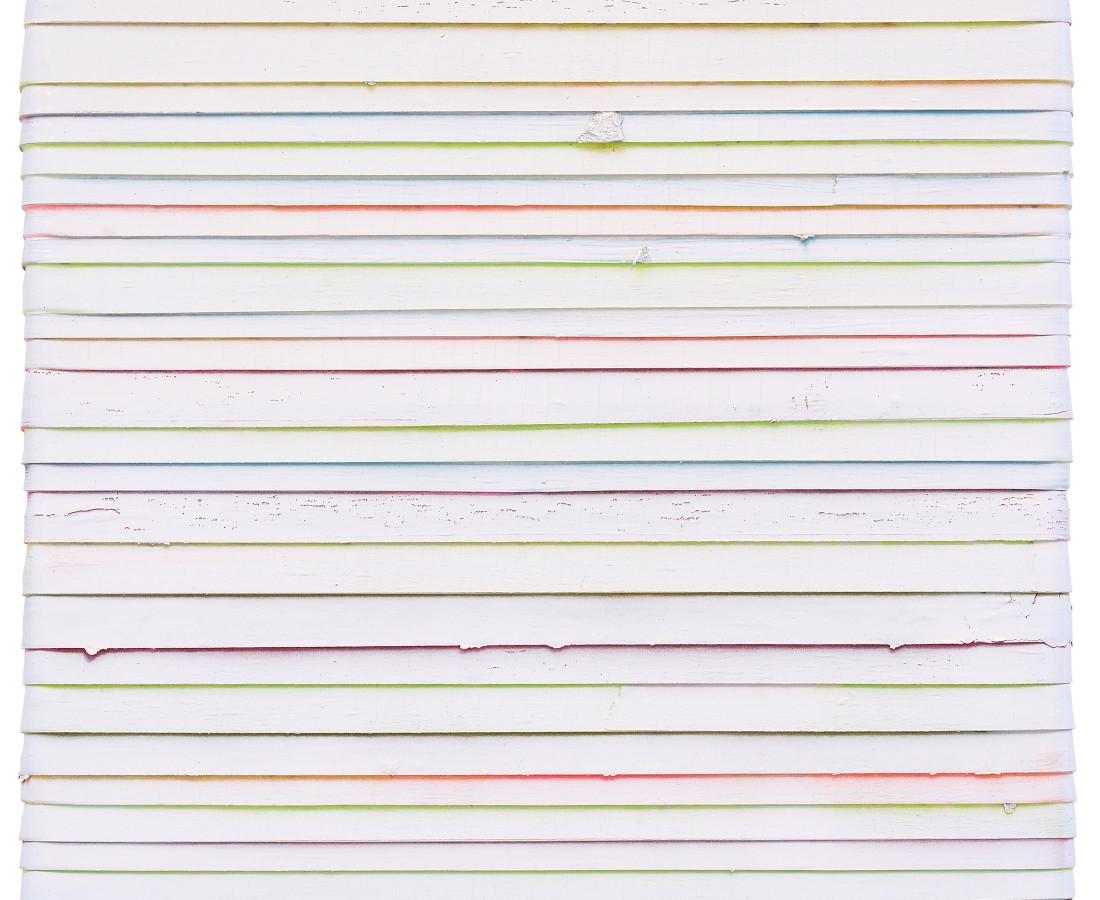 Paolo Bini: White, 2015, 30 x 30 cm, acrilico su nastro carta su tela