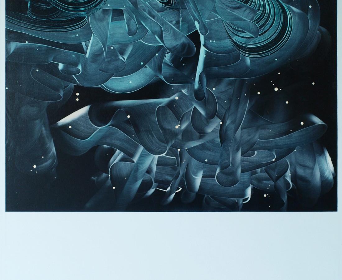Patrick Tabarelli: Torque turquoise, 2012, 150 x 120 cm olio, alchidico, gel acrilico su lino