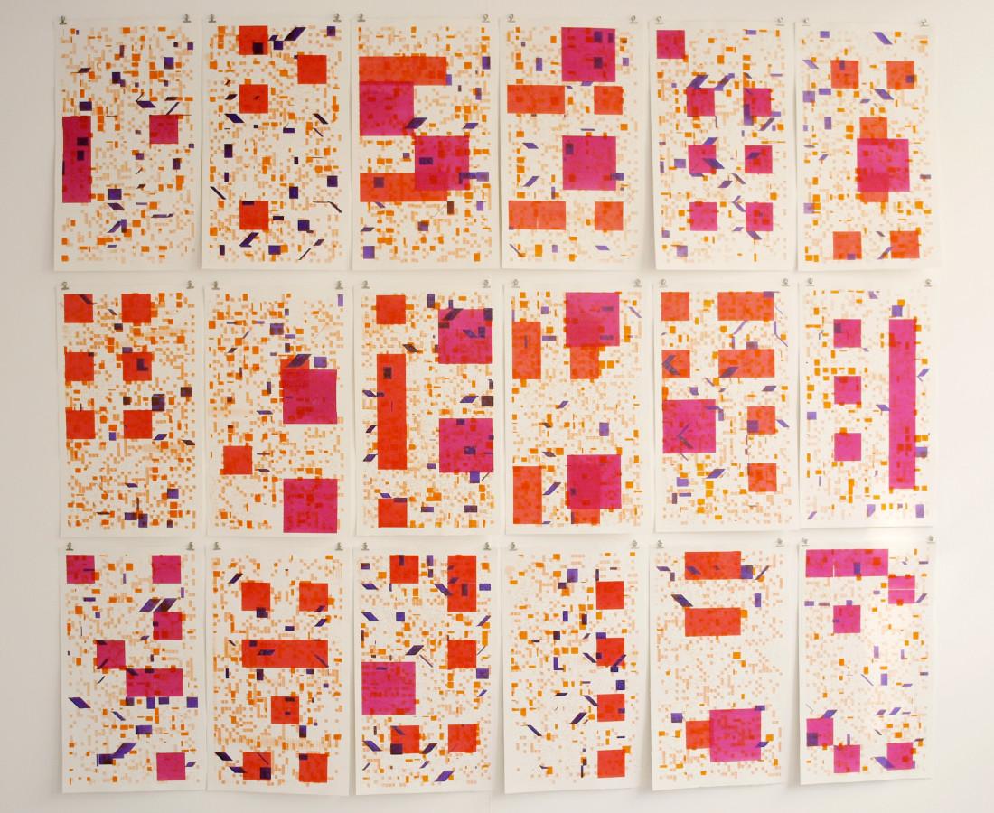 Patrick Tabarelli: [CA], 2015, 210 x 240 cm, acquarello liquido su carta cotone