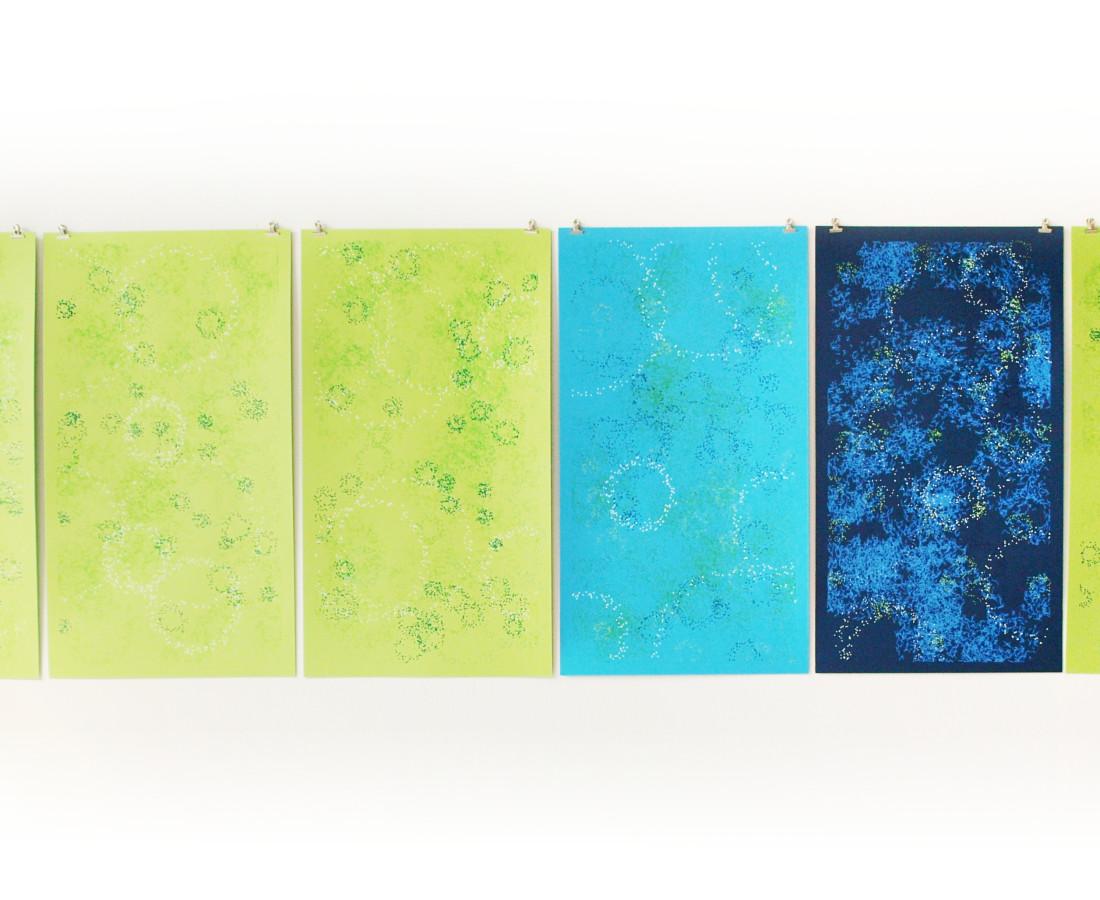 Patrick Tabarelli: [CA], 2015, 70 x 240 cm ( 70 x 40cm ciascuno), acquarello liquido su carta cotone