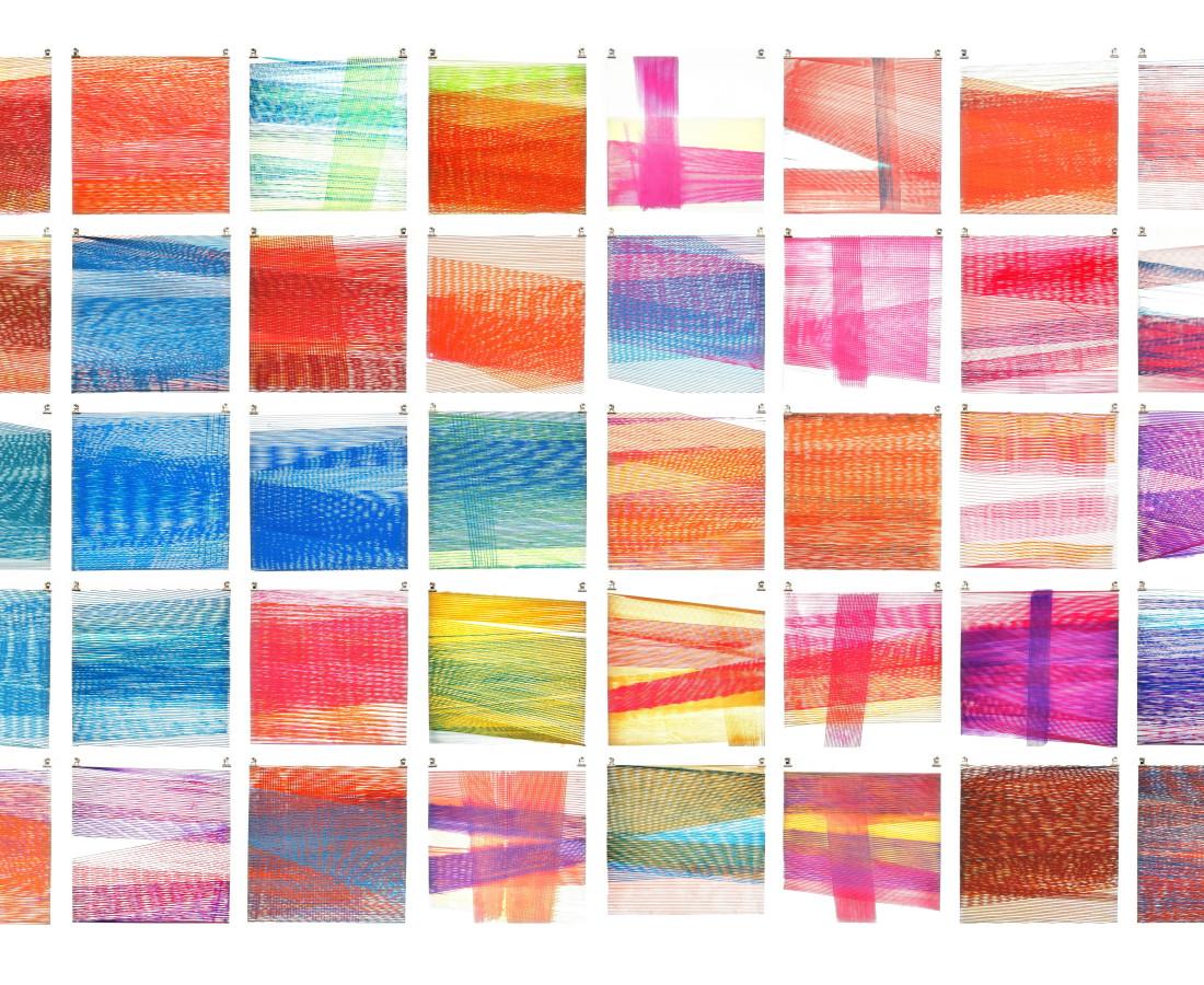 [M], 2015, 200 x 400 cm (38 x 38 cm ciascuna), acquarello liquido e acrilico su carta cotone,