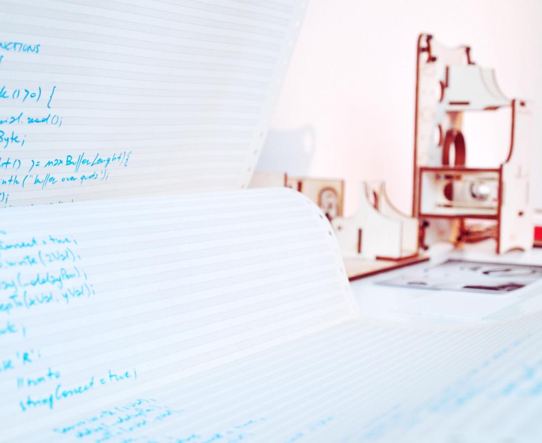 Patrick Tabarelli: Untitled, 2015, 420 x 37 cm, marker su carta a modulo continuo