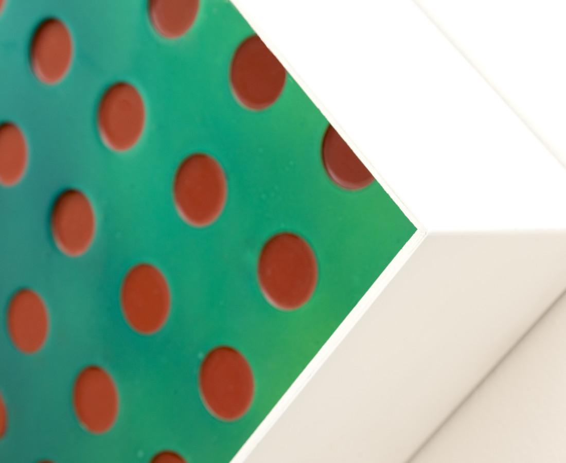 Matteo Negri, Kamigami, 2016, 93 x 93 x 20 cm, tecnica mista su legno, acciaio cromato e verniciato, detail