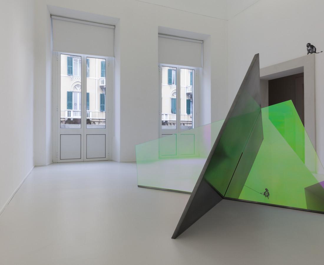 Matteo Negri, Piano Piano, 2016, galvanized iron, liquid chrome, tempered glass and film 257 x 276 x 160 cm