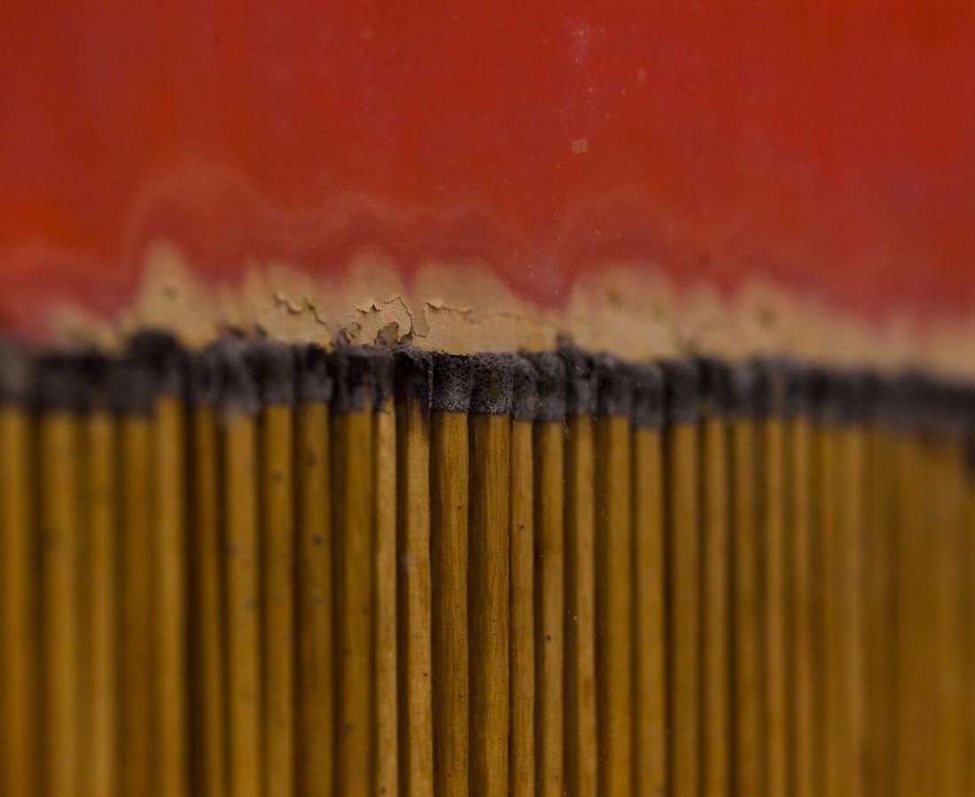 Bernard Aubertin, 1974, Dessin de feu, 100x74cm, acrylic and burnt matches detail.