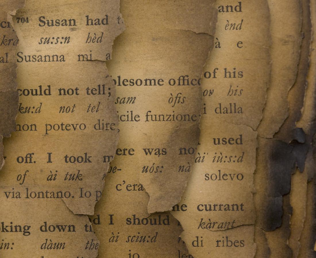 Bernard Aubertin, 1974, Livre brulé, 73x80cm, burnt book detail.