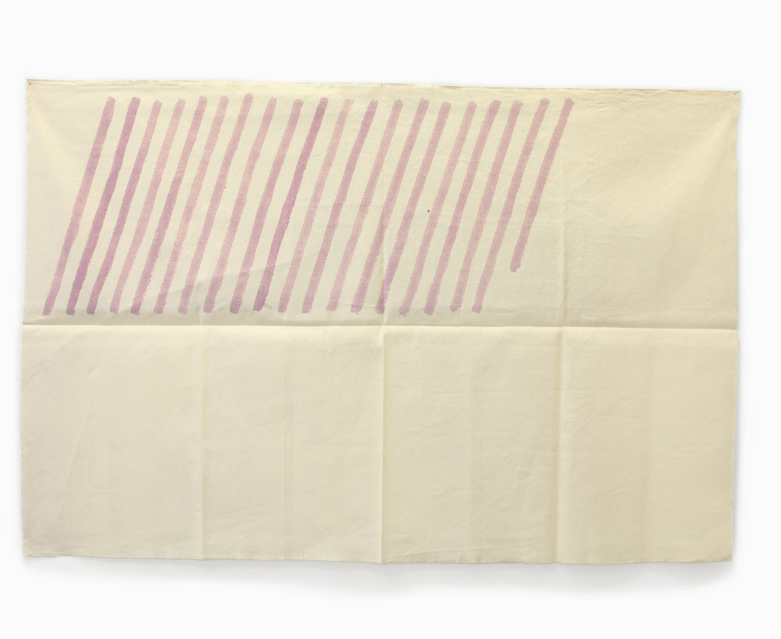 Giorgio Griffa :obliquo, 1978, 100x150 cm, 39 3_8x 59 1_8 in, acrilico su cotone