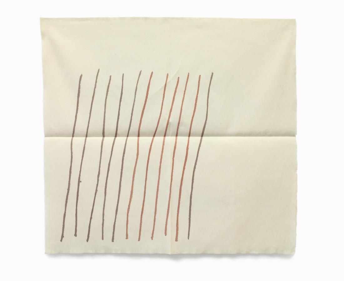 Giorgio Griffa : Obliquo, 1978, 90x97 cm, 35 3_8x38 1_4 in, acrilico su cotone