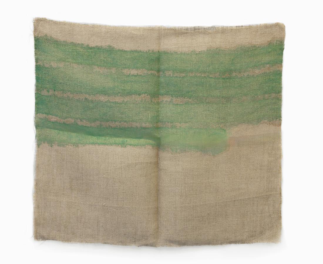 Giorgio Griffa : Orizzontale, 1979, 67x76 cm, 26 3_8x29 7_8 in, acrilico su juta
