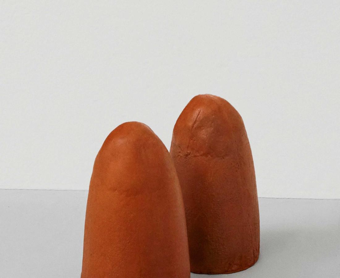 Maria Positano Terracotta Crucibles Fired terracotta casts (a pair) 19 x 19 x 33 cm 7 1/2 x 7 1/2 x 13 in (each)