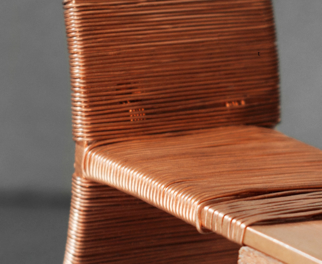 Maria Positano Hold me Down Detail Woven copper on steam bent Sapele wood 80 x 200 x 5 cm 31 1/2 x 78 3/4 x 2 in