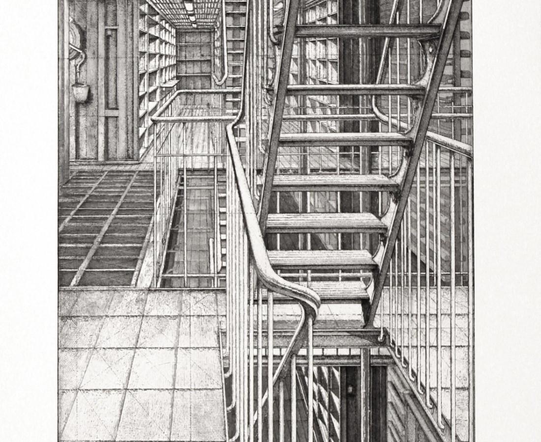 Érik Desmazières, Travée est-ouest, Le Magasin Central des Imprimés, planche 3, 2013
