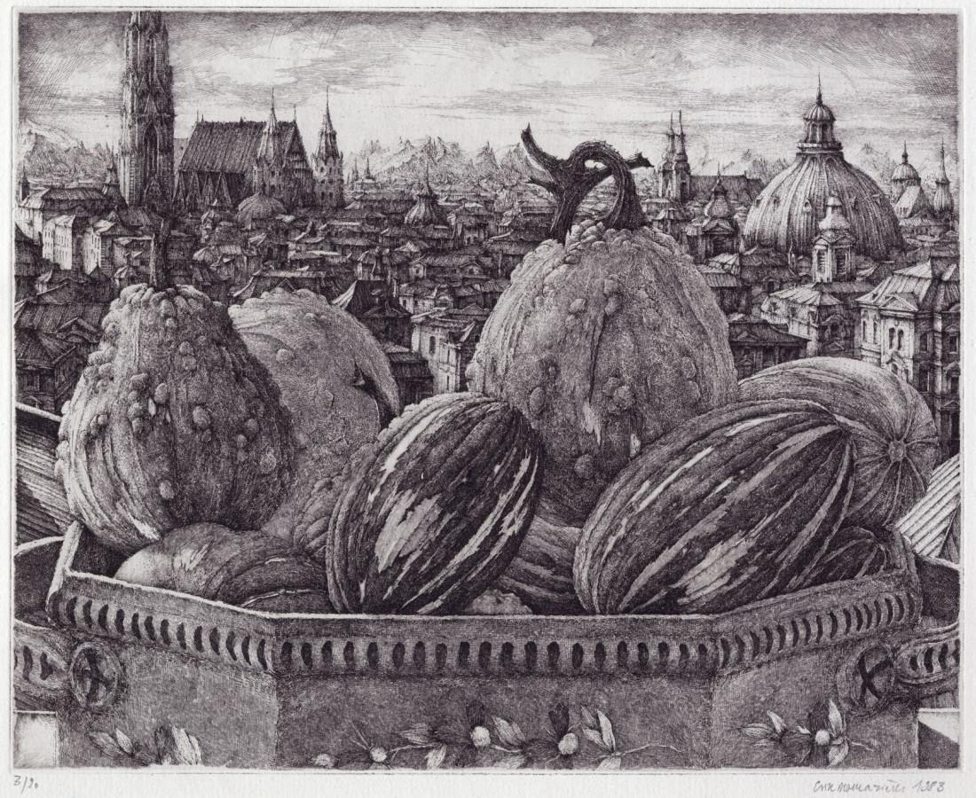 Érik Desmazières, Coloquintes devant une ville, 1983