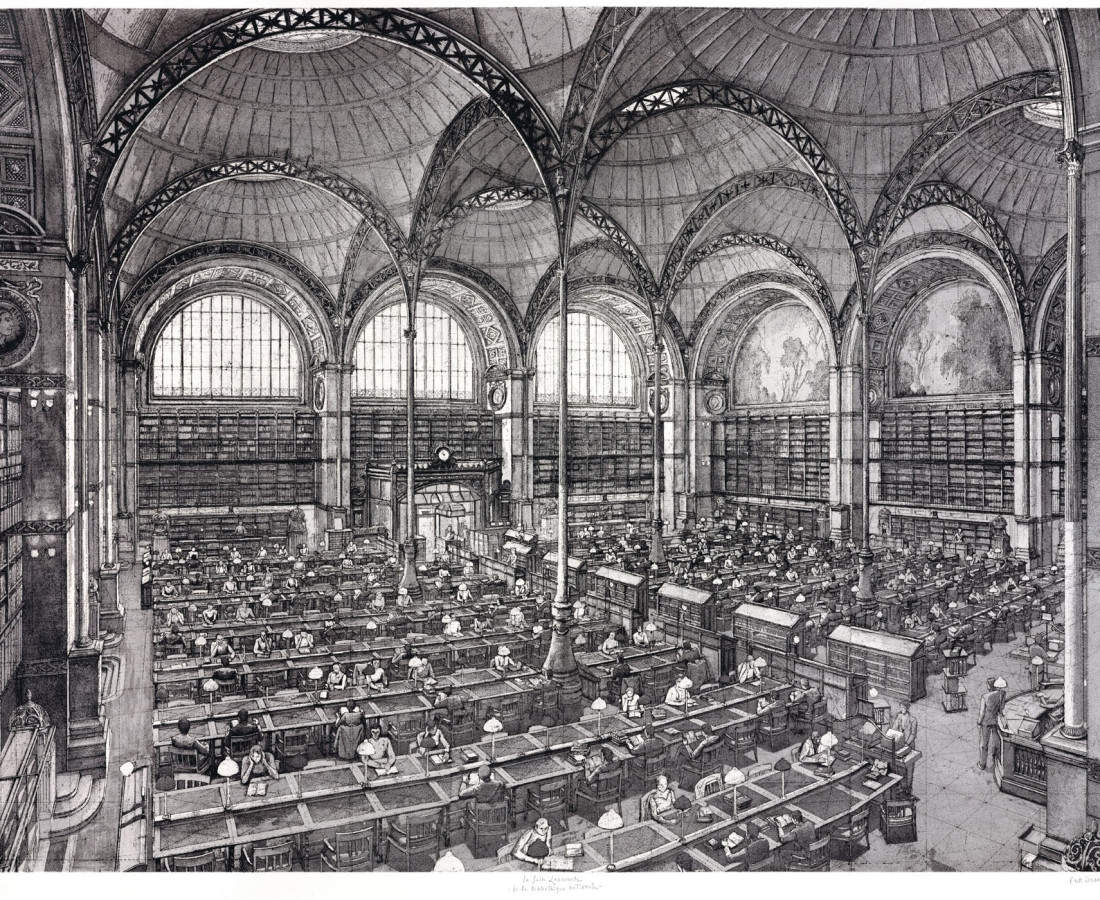 Érik Desmazières, La Salle Labrouste de la Bibliothèque nationale, 2001