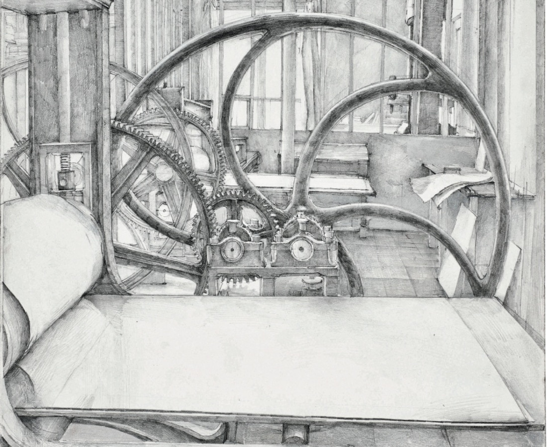 Érik Desmazières, L'Atelier René Tazé ( III ) - dessin, 1979