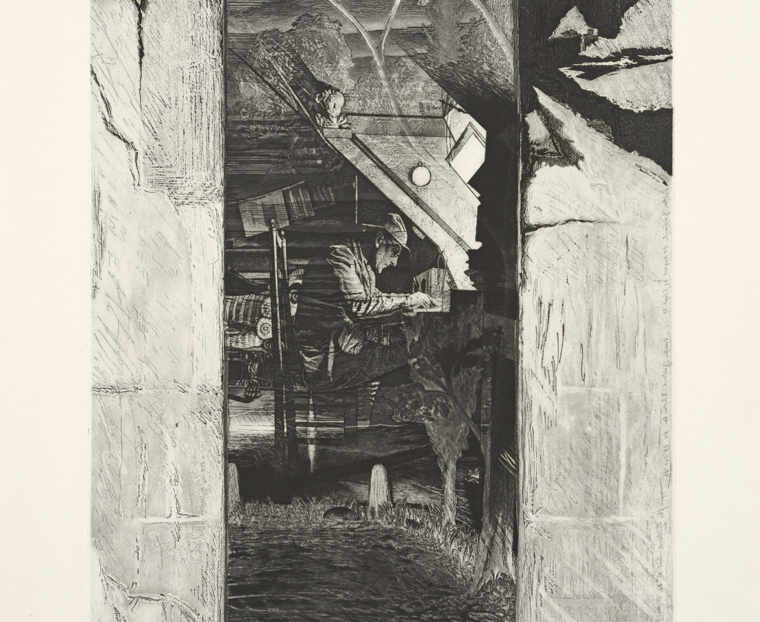 Joerg Ortner, Tholos VI, Horizontales Opfer - Anne Frélaut zugedacht - durch Vertikales im Apfel erlebt, 1984