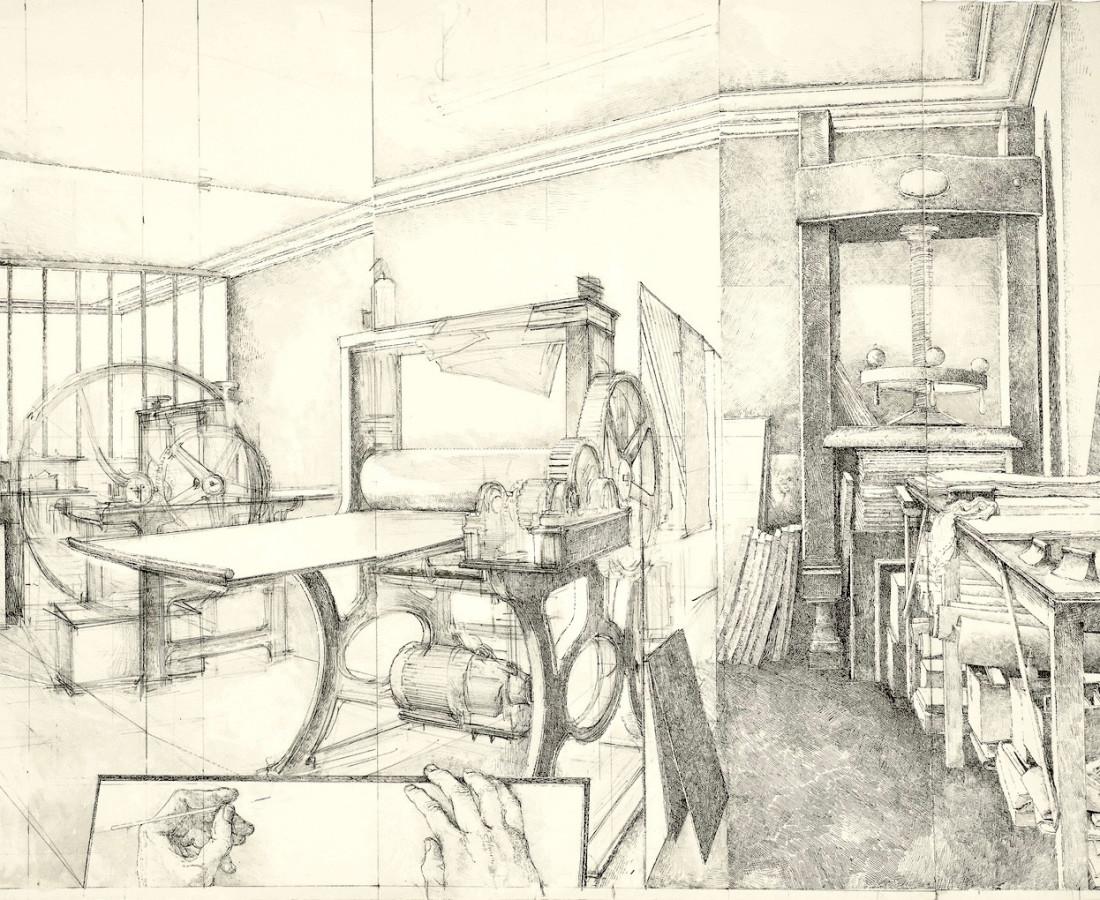 Érik Desmazières, L'Atelier René Tazé, vue Oblique (dessin), 1992-2018