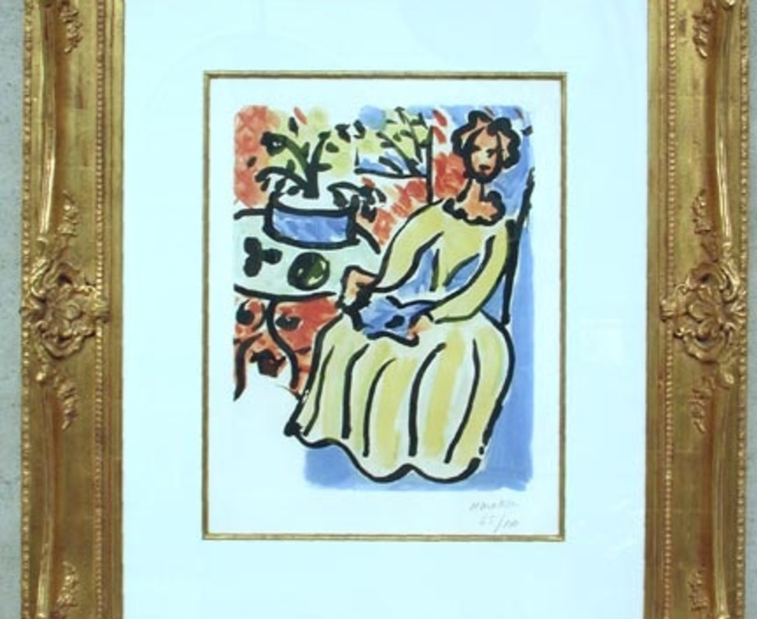 "Henri Matisse (French, 1869-1954) Marie-José en robe jaune, 1950, edition of 100 (Duthuit-Matisse, 817). Signed and numbered ""H. Matisse/26/100"" in crayon l.r. Color aquatint on Arches paper with watermark, plate size 21 1/8 x 16 7/16 in. (53.5 x 41.6 cm), framed. Condition: Full sheet with deckled edges, sheet gently toned, colors strong and fresh, staining near edges of sheet, pinpoint foxing visible primarily on verso. Provenance: A private New England collection. N.B. Matisse was a prolific printmaker, creating more than 800 printed works, and worked in a broad variety of techniques, embracing intaglio, relief, and planeographic processes. The work presented here is an aquatint; an intaglio process in which the artist brushes a granular resin onto a metal plate. When the plate is placed into an acid bath the particles protect the surface, creating a fine network of channels that carry ink for printing."