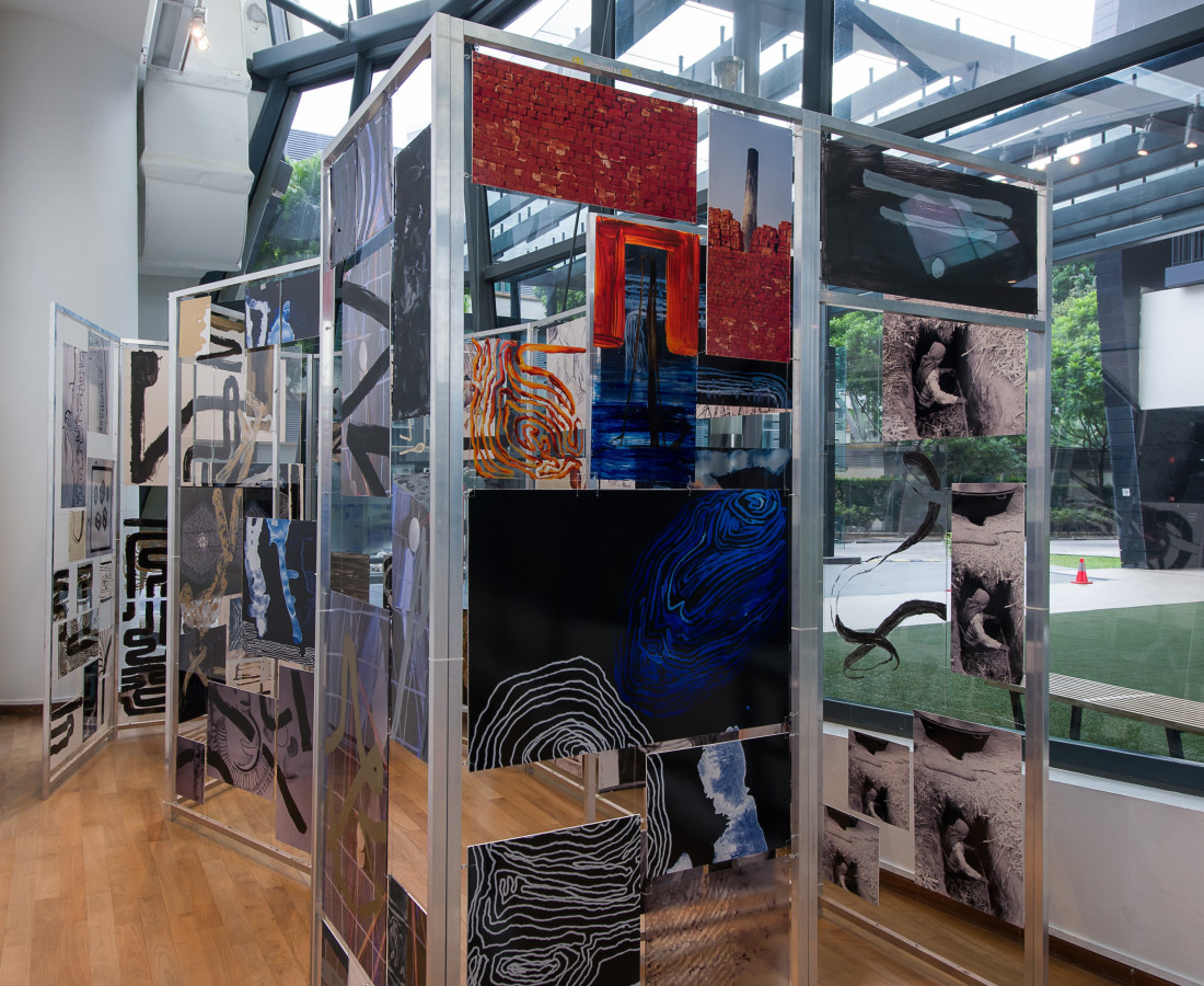 House of Cards I, 2015. Multi-media on 13 acrylic and aluminum panels, 8 ft wide x 22 ft long x 8.5 ft high.