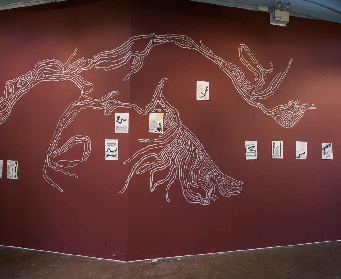 Untitled, wall painting installation with ink drawings, ICA Singapore Project Space.