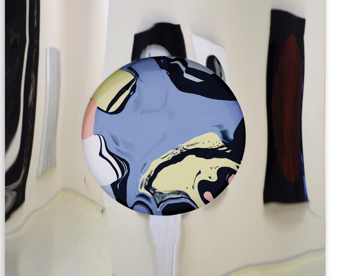 Pastels, 2014  Enamel on chrome-plated metal  150x150cm