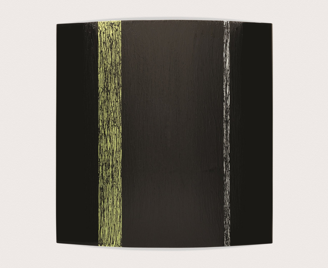 Black with Green and White Stipes, 2010. Enamel on black lacquered aluminium 190x190cm